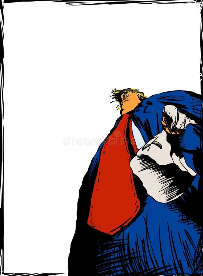 Capa de Donald Trump Holding KKK no quadro ilustração stock