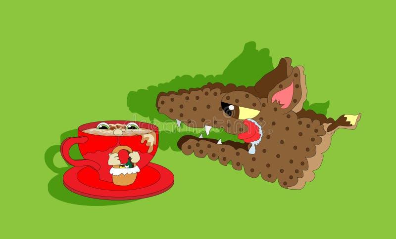 Capa De Equitação Vermelha E Lobo Com Fome Imagem de Stock Royalty Free