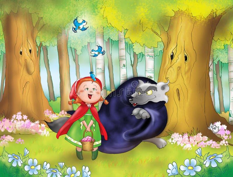 Capa de equitação vermelha e lobo ruim ilustração stock