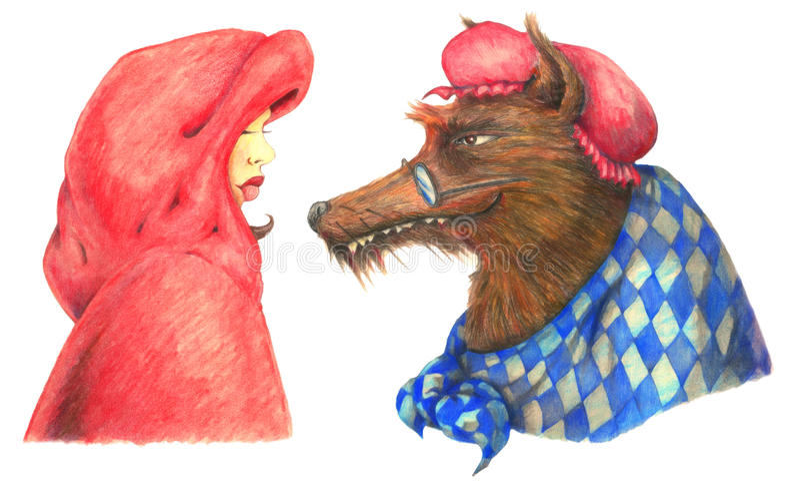 Capa de equitação vermelha e o lobo mau grande ilustração stock