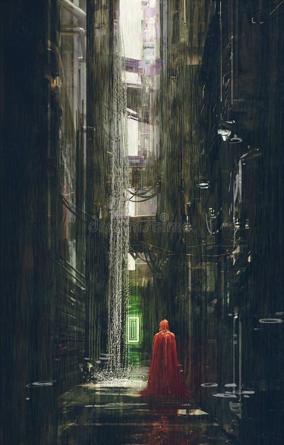 Capa de equitação vermelha na aleia futurista, cena da ficção científica ilustração do vetor
