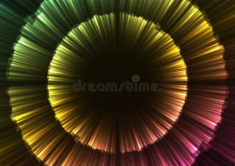 Capa de la flor del extracto del arco iris del resplandor en fondo oscuro stock de ilustración