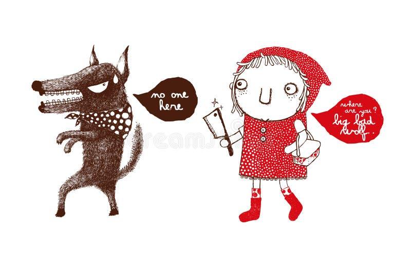 Capa de montada vermelha e o lobo mau grande, vingança da capa de montada vermelha, lobo, esconde-esconde - vetor ilustração stock