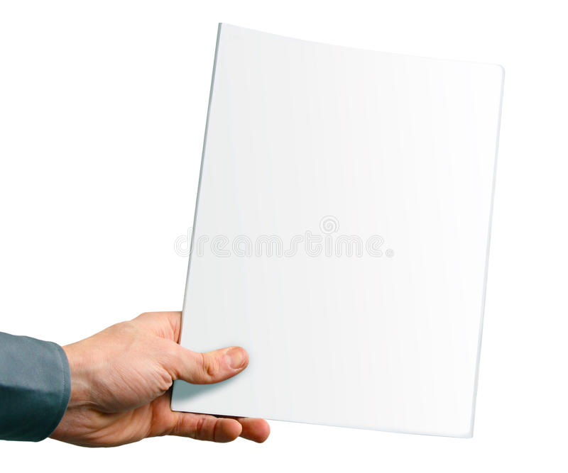 Capa de revista vazia na mão fotografia de stock royalty free