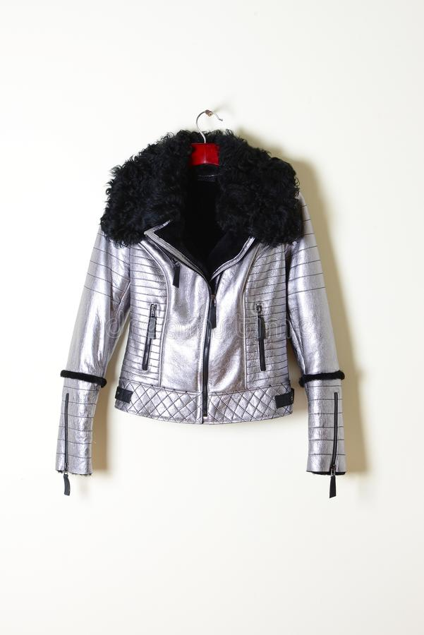 Capa de zalea de plata con el cuello y la cremallera negros Chaqueta en una suspensión outerwear vertical imagen de archivo