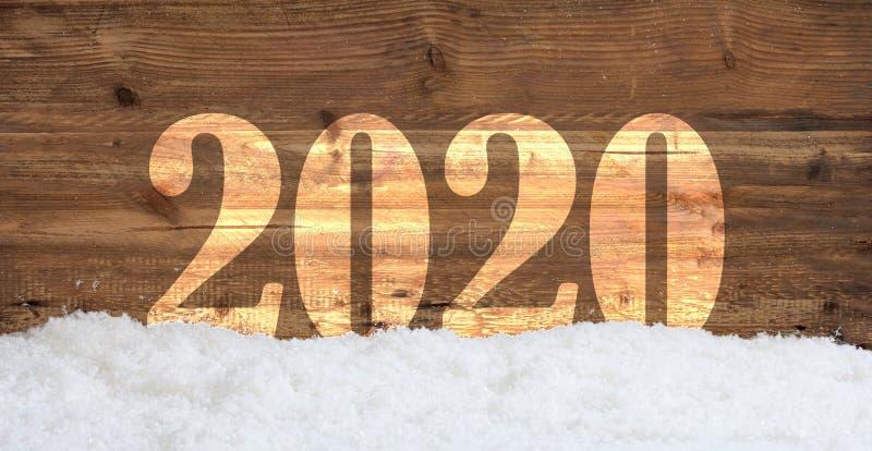 Capa del Año Nuevo 2020 en fondo de madera con las derivas de la nieve ilustración del vector
