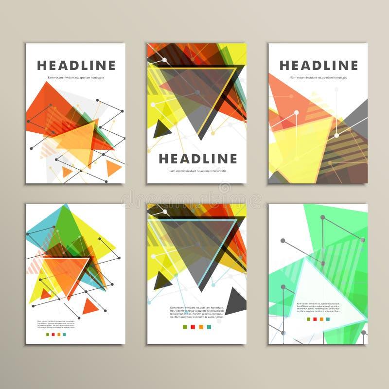 Capa do livro leve Composição abstrata do vetor dos triângulos para imprimir livros, folhetos, folhetos ilustração stock