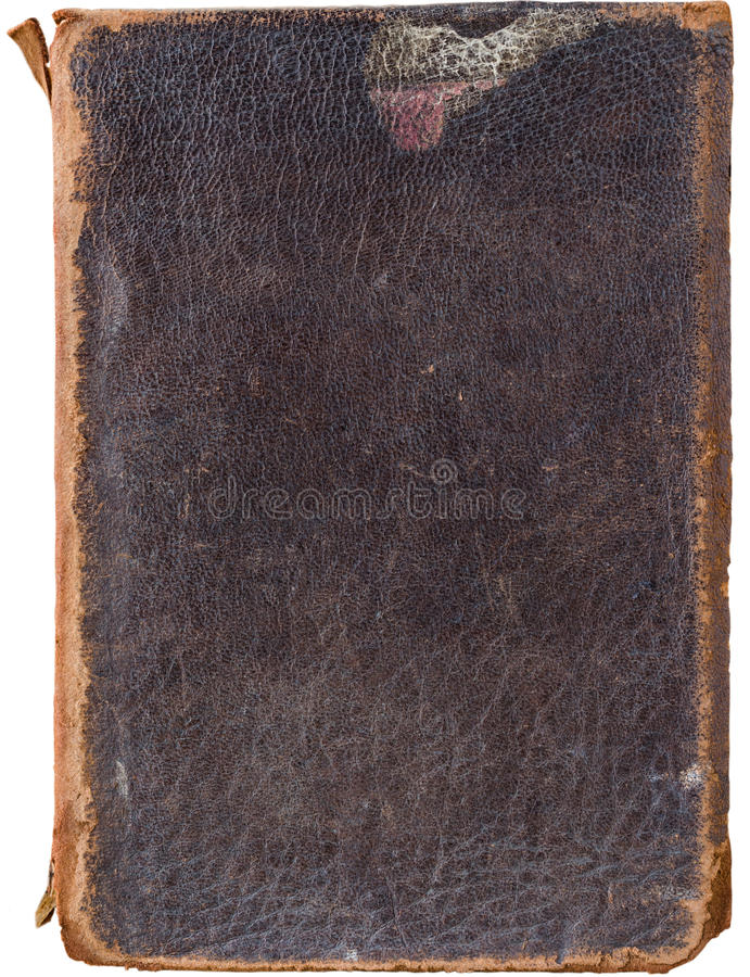 Capa do livro velha golpeada do couro do vintage isolada no branco foto de stock royalty free