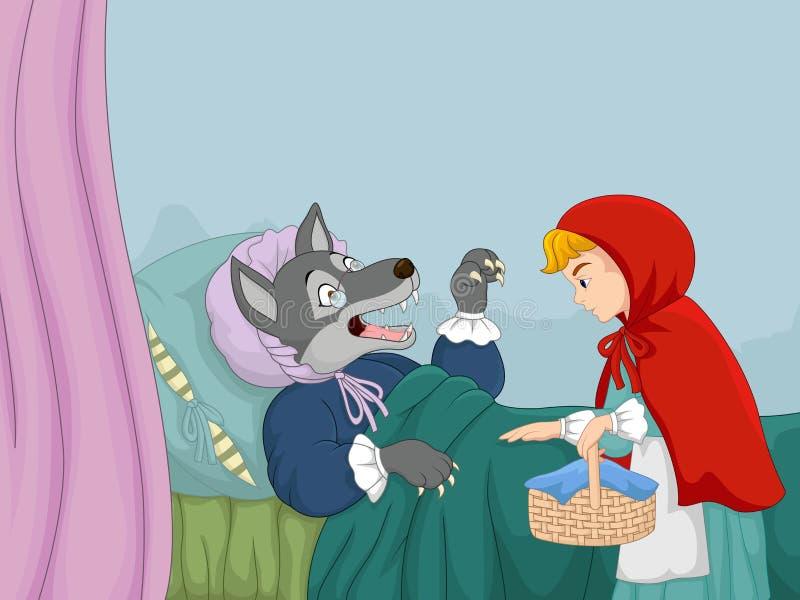 Capa e lobo de montada vermelha pequena dos desenhos animados ilustração do vetor