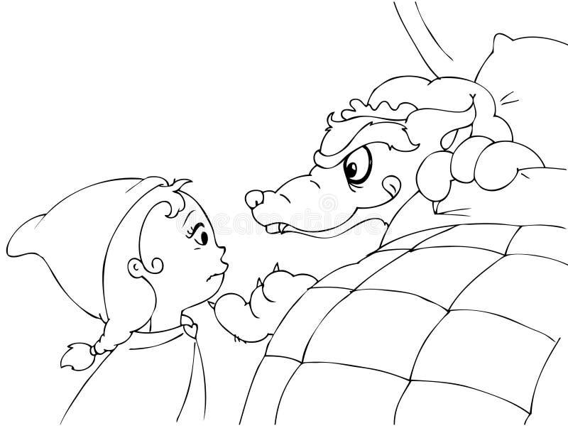 Capa e lobo vermelhos colorindo de equitação ilustração royalty free