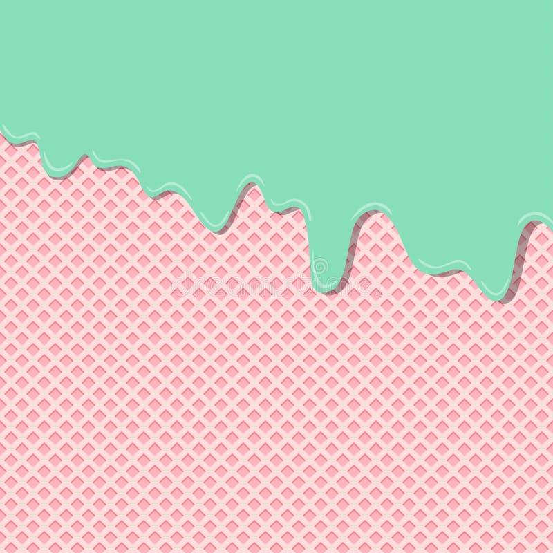Capa poner crema de la textura del helado del sabor de la menta de limón dulce derretida en el papel pintado del modelo del fondo ilustración del vector