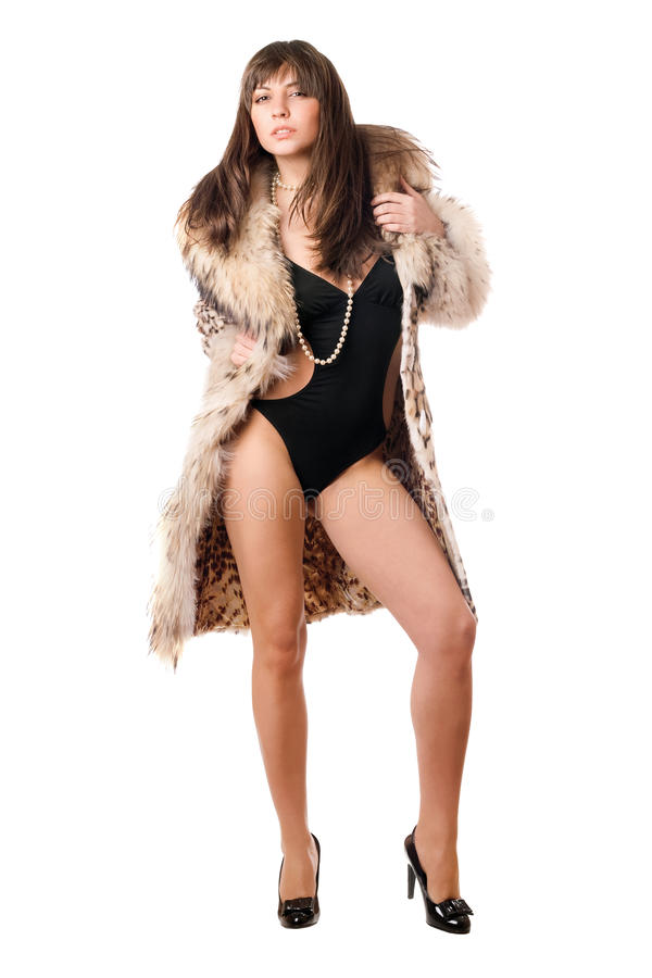Capa triguena atractiva del traje de baño que desgasta y del leopardo foto de archivo libre de regalías