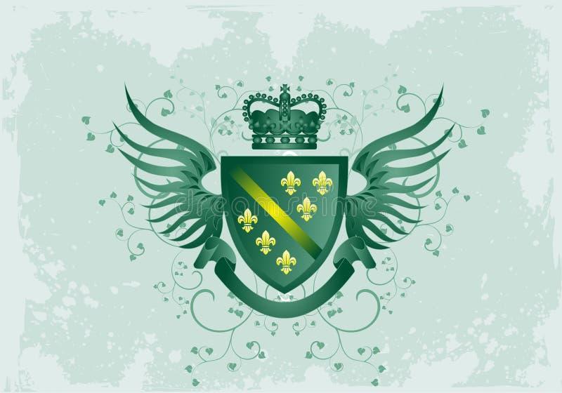 Capa verde de Grunge de brazos con la flor de lis fotos de archivo libres de regalías
