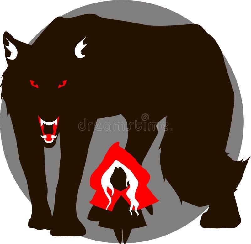 Capa vermelha e o lobo mau grande ilustração royalty free