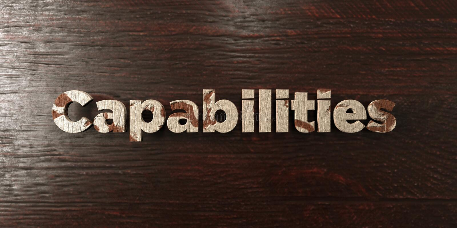 Capabilities - grungy wooden headline on Maple - 3D rendered royalty free stock image. This image can be used for an online website banner ad or a print stock illustration