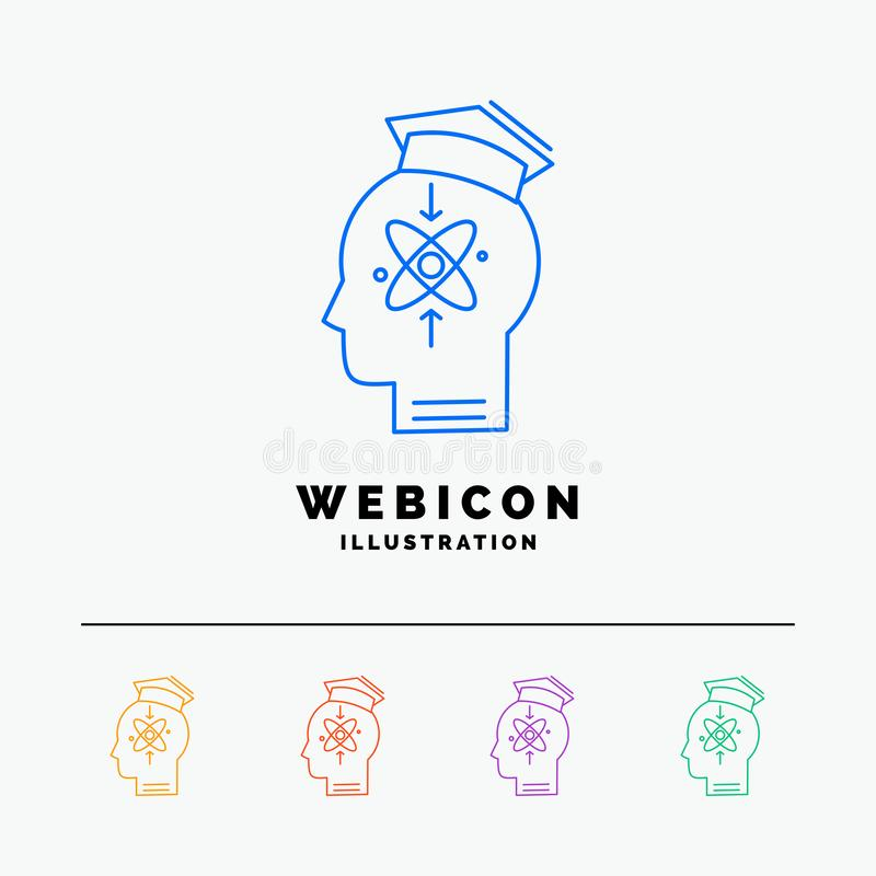 capability, head, human, knowledge, skill 5 Color Line Web Icon Template isolated on white. Vector illustration stock illustration