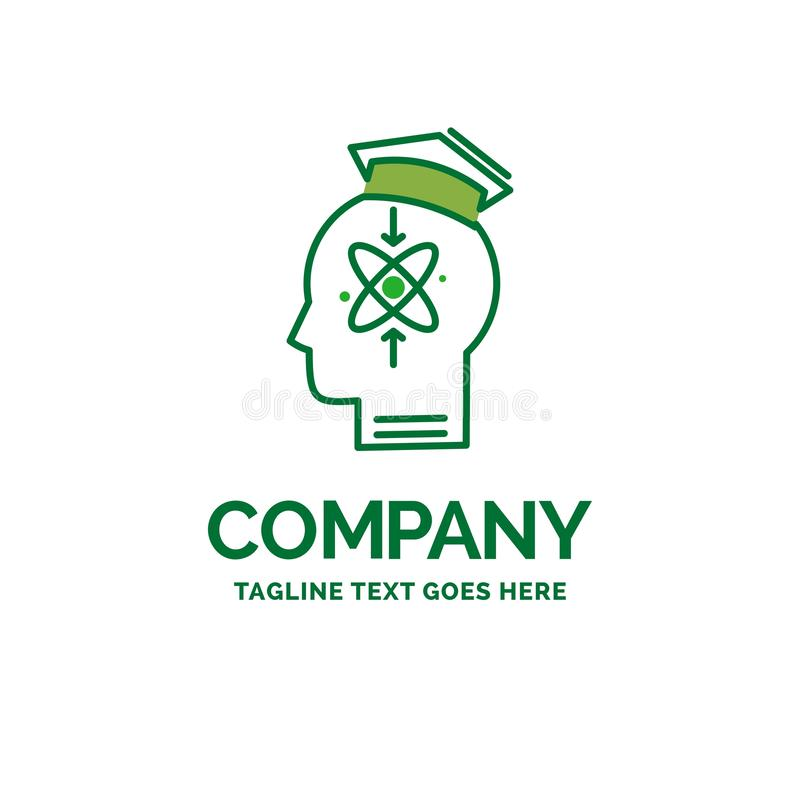 Capability, head, human, knowledge, skill Flat Business Logo tem. Plate. Creative Green Brand Name Design stock illustration