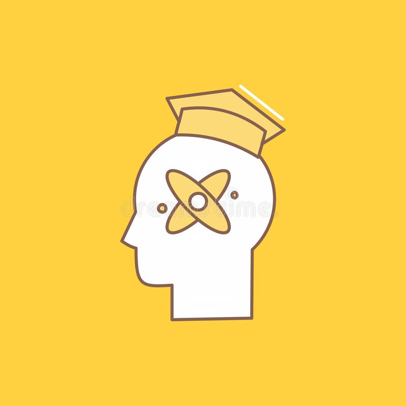Capability, head, human, knowledge, skill Flat Line Filled Icon. Beautiful Logo button over yellow background for UI and UX,. Website or mobile application vector illustration
