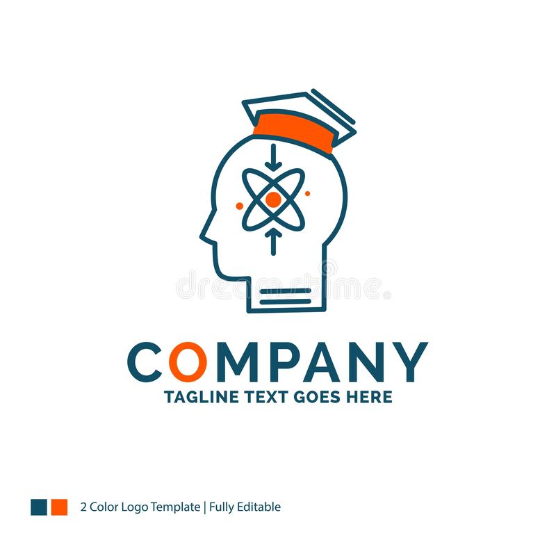 Capability, head, human, knowledge, skill Logo Design. Blue and. Orange Brand Name Design. Place for Tagline. Business Logo template stock illustration