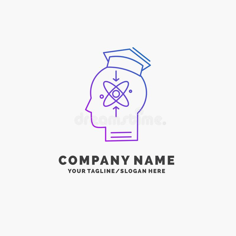 Capability, head, human, knowledge, skill Purple Business Logo Template. Place for Tagline. Vector EPS10 Abstract Template background royalty free illustration