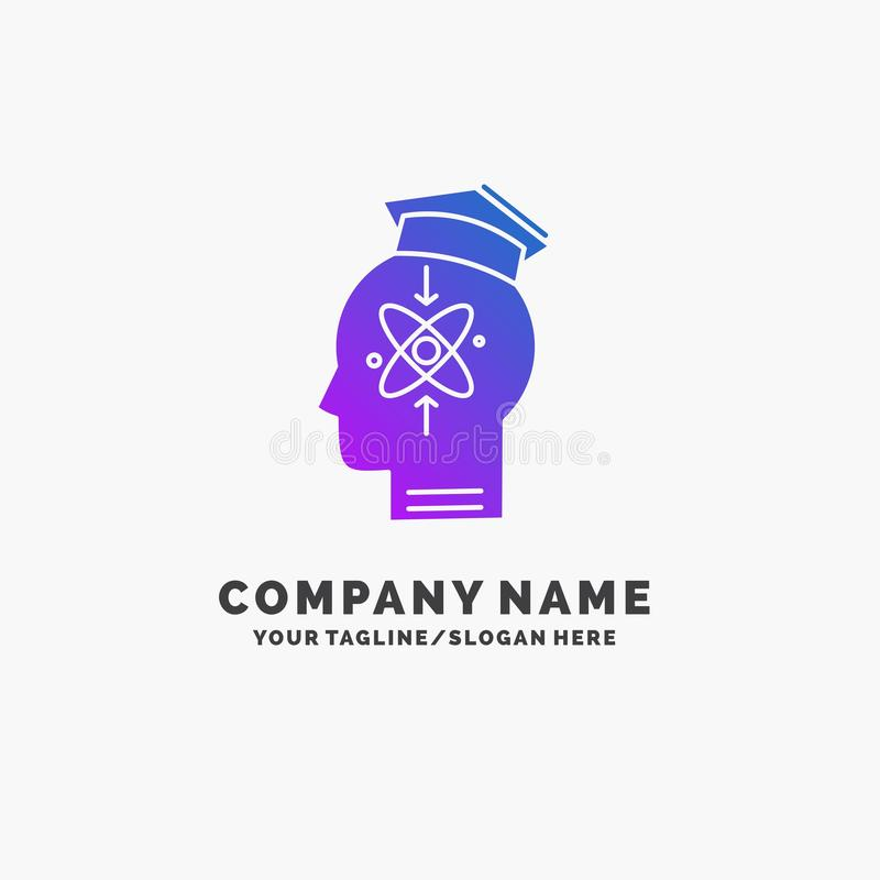 capability, head, human, knowledge, skill Purple Business Logo Template. Place for Tagline vector illustration