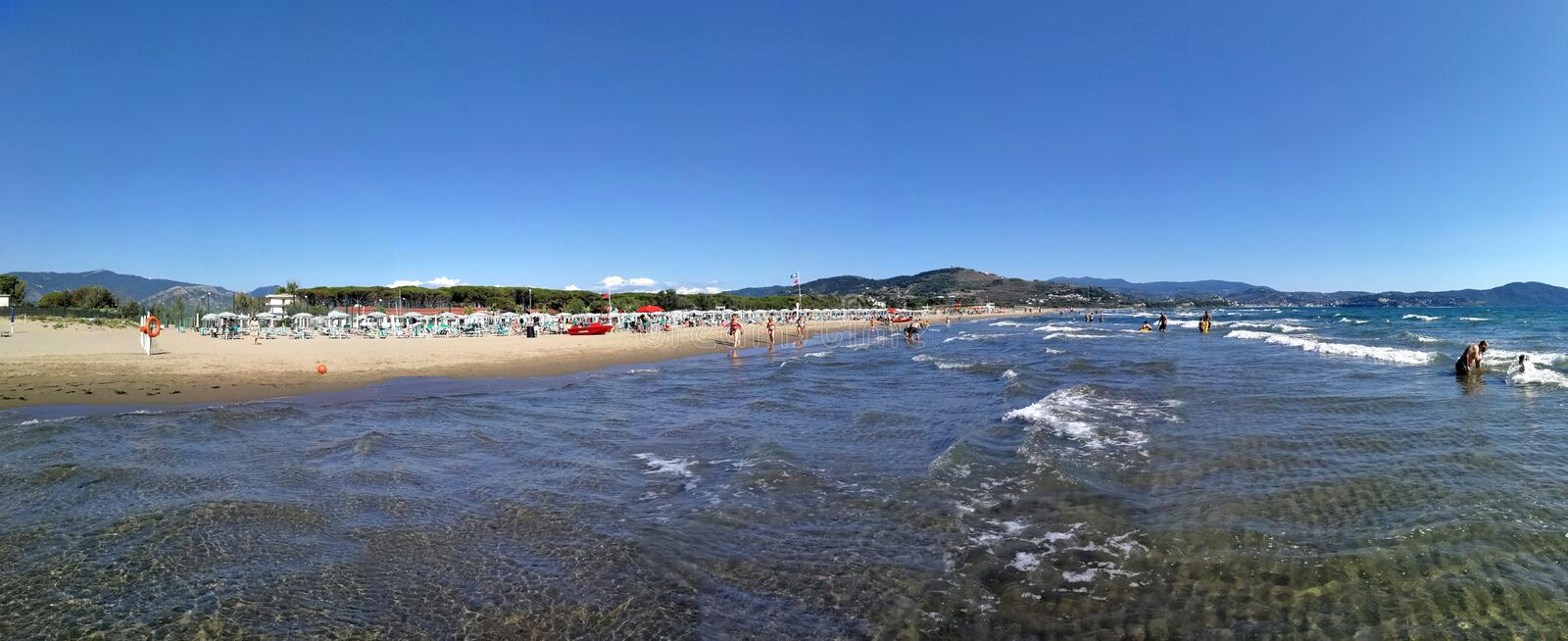 Capaccio - Overview of the beach from the sea stock photography