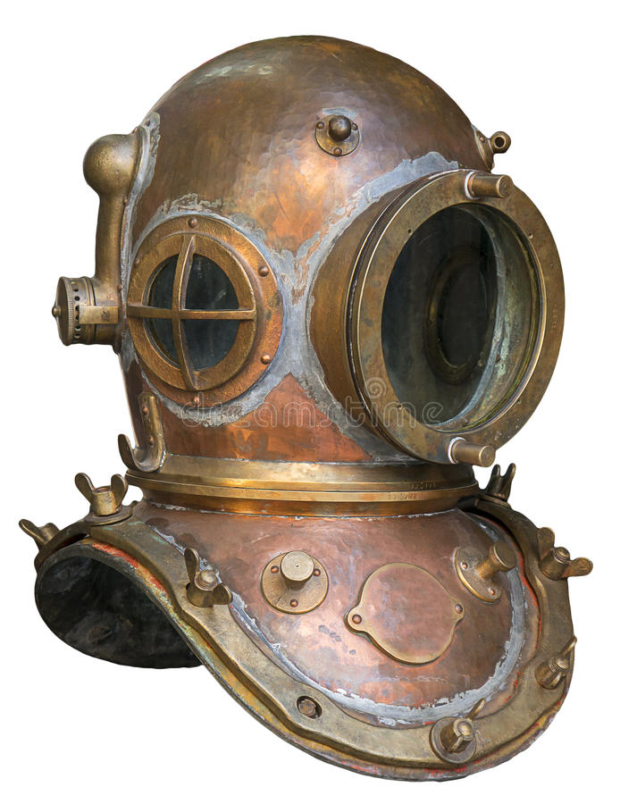 Capacete antigo velho do mergulhador do metal imagens de stock royalty free