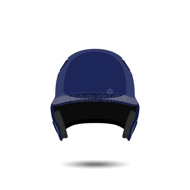 Capacete azul do basebol no fundo branco Ostenta a proteção em um estilo realístico ilustração do vetor