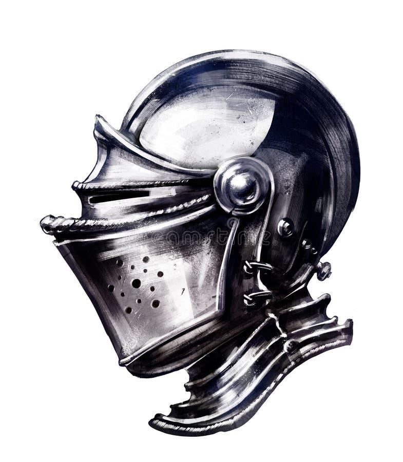 Capacete brilhante ordinário do ` s do cavaleiro ilustração royalty free