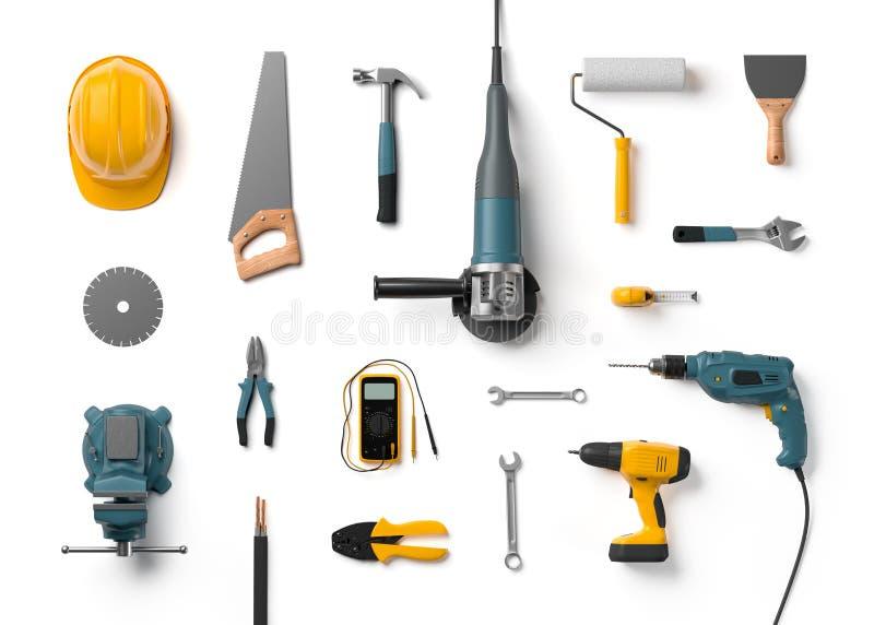 Capacete, broca, moedor de ângulo e outras ferramentas da construção ilustração royalty free