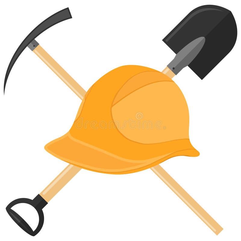 Capacete com uma pá e uma picareta Mineiro dos capacetes do ícone ilustração royalty free