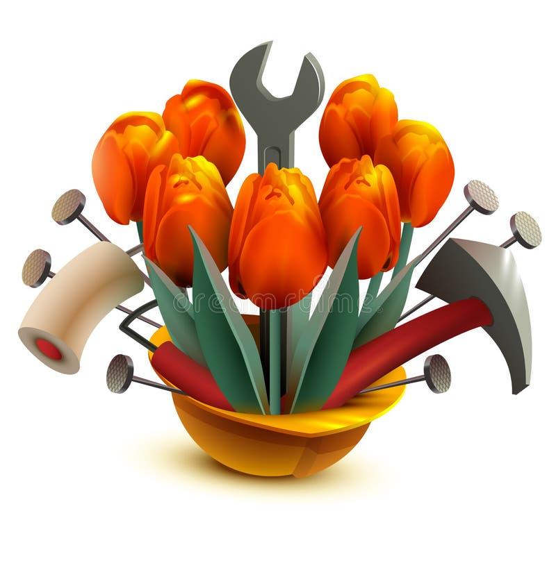Capacete da construção com flores e ferramentas do trabalho ilustração do vetor