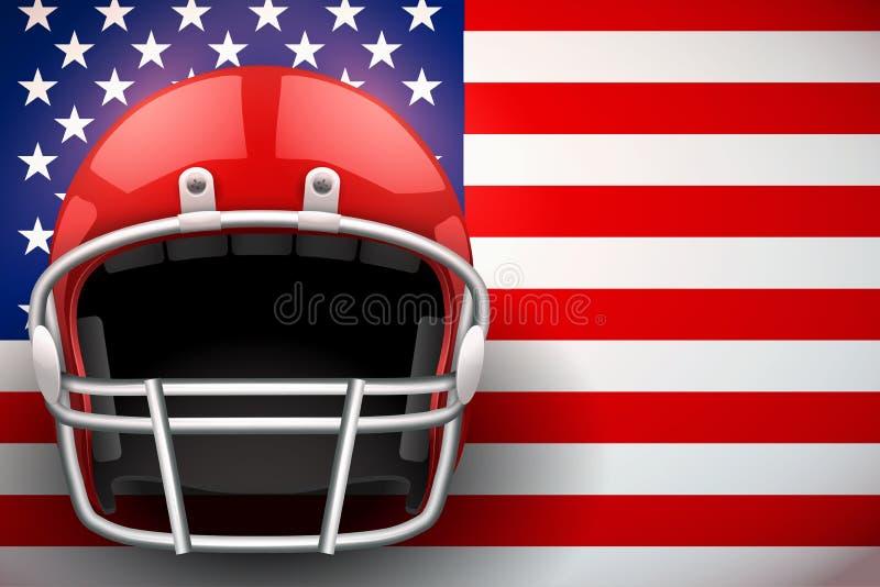 Capacete de futebol americano e bandeira dos E.U. ilustração royalty free