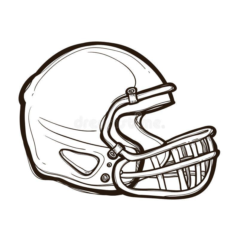 Capacete de futebol americano isolado Livro de coloração ilustração do vetor