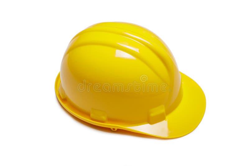 Capacete de segurança amarelo no fundo branco Capacete de segurança isolado em w fotografia de stock royalty free