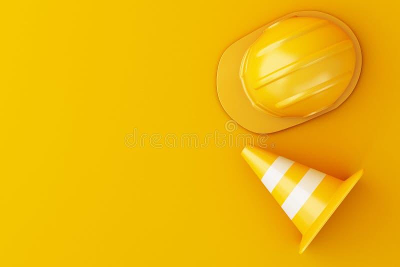 capacete de segurança 3d e cone do tráfego ilustração stock