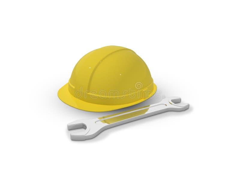 Capacete de segurança plástico e chave ajustável isolados no branco 3d rendem ilustração royalty free