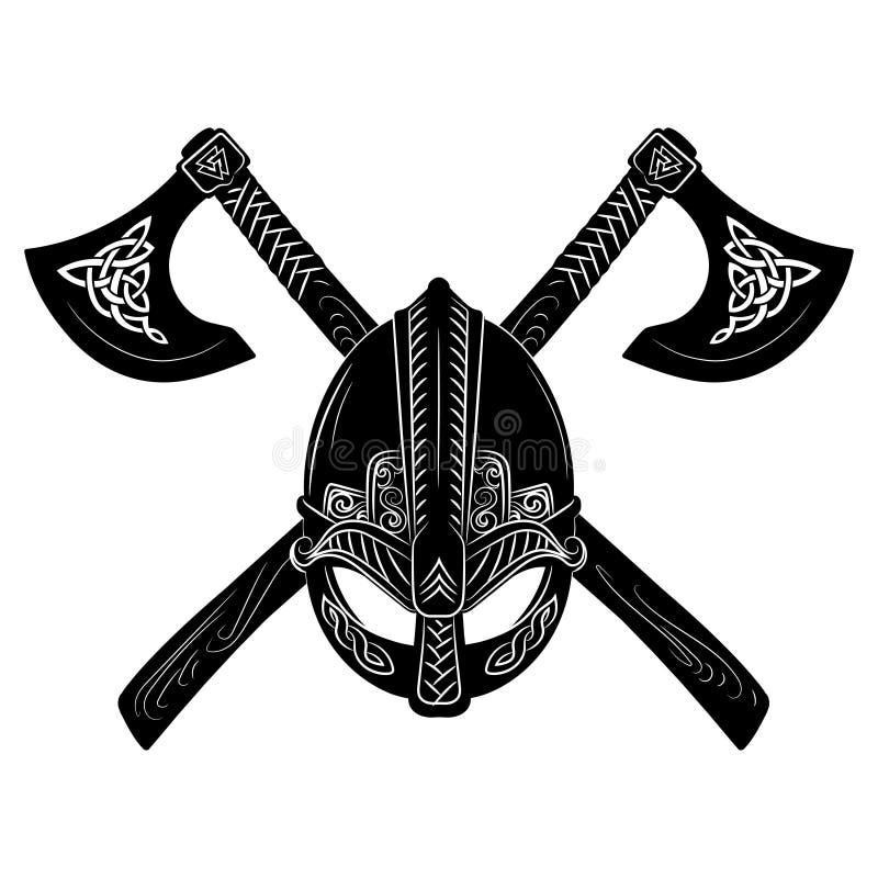 Capacete de Viking, machados cruzados de viquingue e teste padrão escandinavo ilustração do vetor