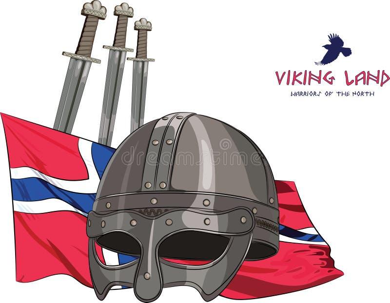 Capacete de Viking, três espadas no fundo da bandeira norueguesa e com a inscrição - Viking Land ilustração do vetor