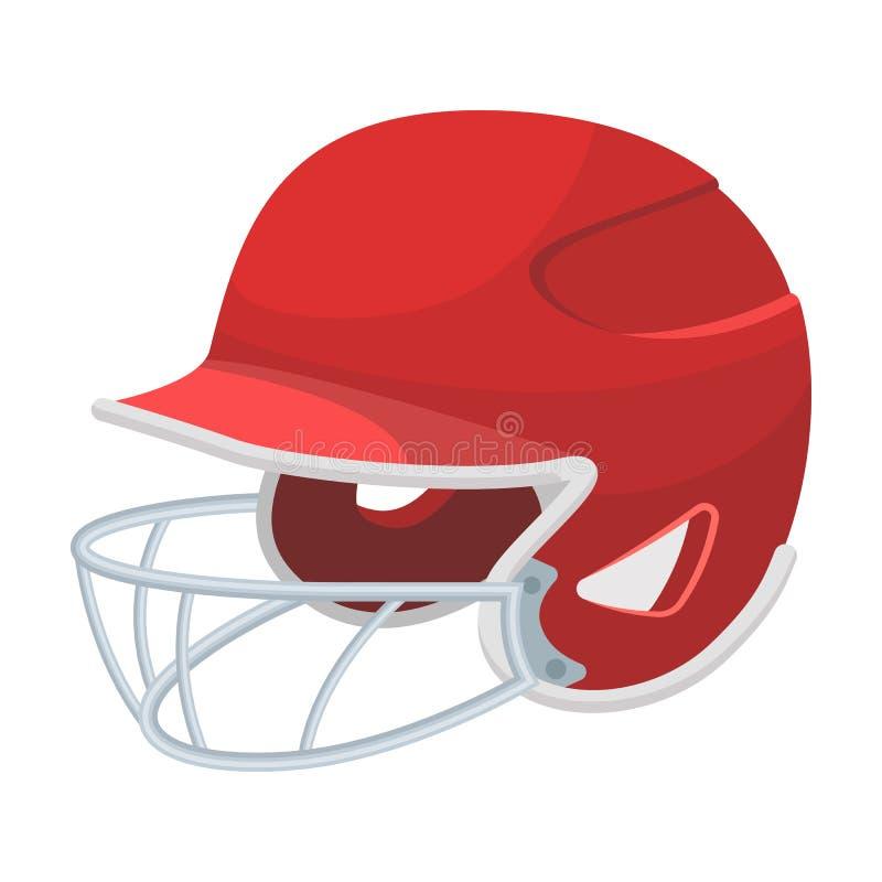 Capacete do basebol Único ícone do basebol na Web da ilustração do estoque do símbolo do vetor do estilo dos desenhos animados ilustração do vetor