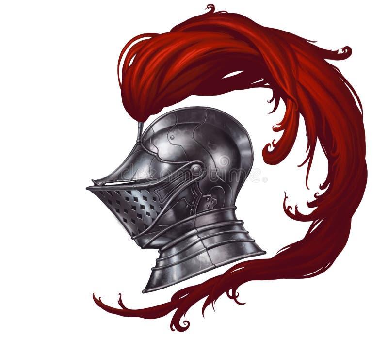 Capacete do cavaleiro medieval ilustração stock