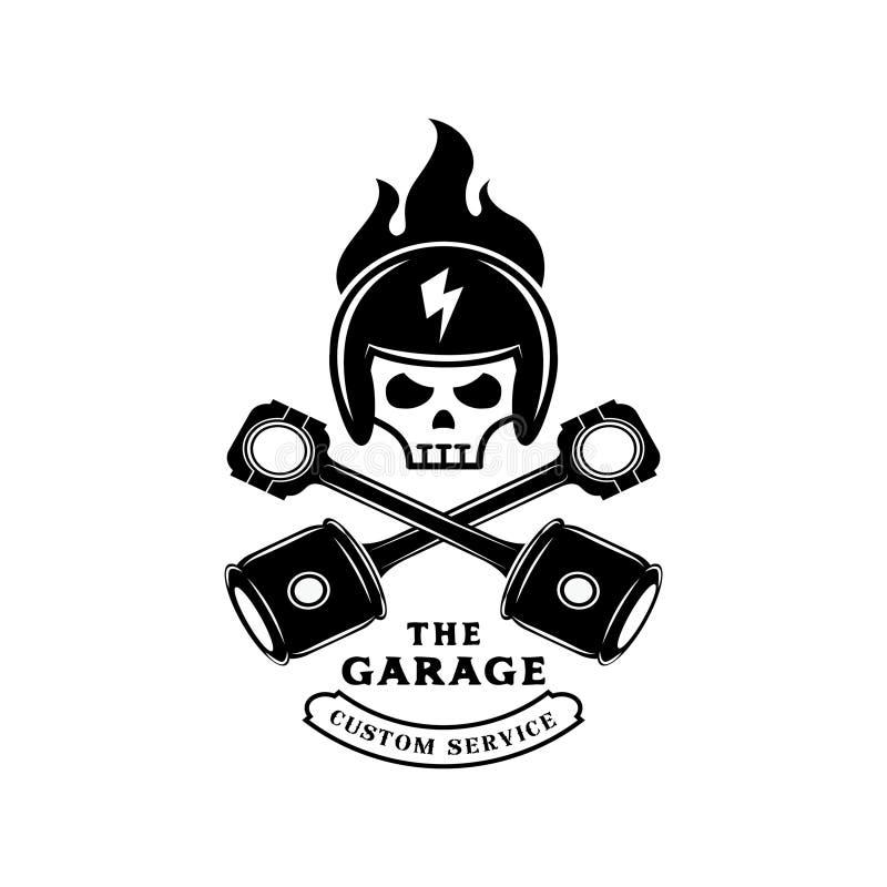 Capacete do crânio no fogo com logotipo do pistão ilustração do vetor