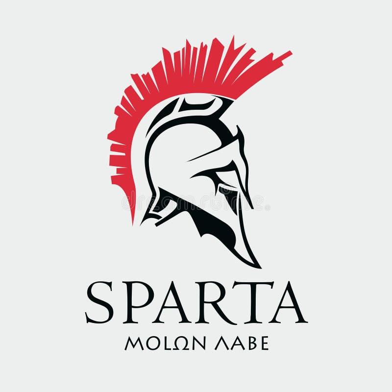 Capacete do guerreiro espartano antigo ilustração do vetor