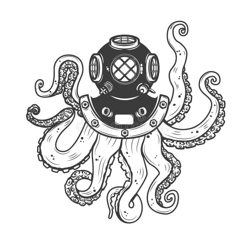 Capacete do mergulhador com os tentáculos do polvo isolados no fundo branco ilustração royalty free