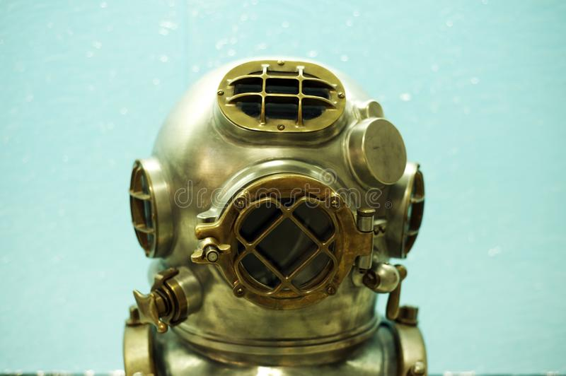 Capacete do mergulhador do vintage foto de stock