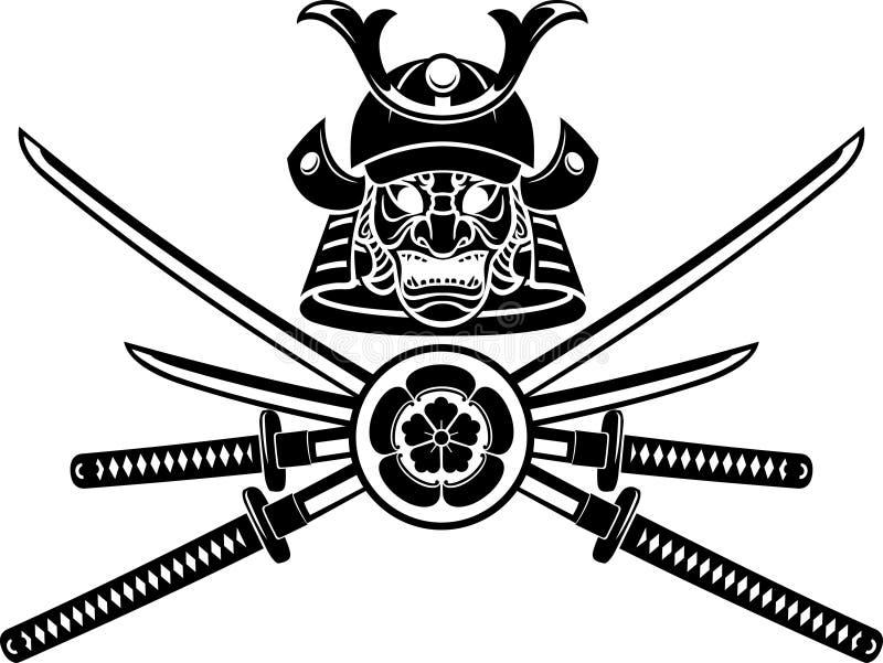 Capacete do samurai e emblema da espada ilustração do vetor