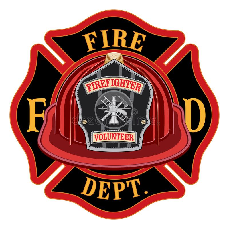 Capacete do vermelho do voluntário da cruz do departamento dos bombeiros ilustração stock