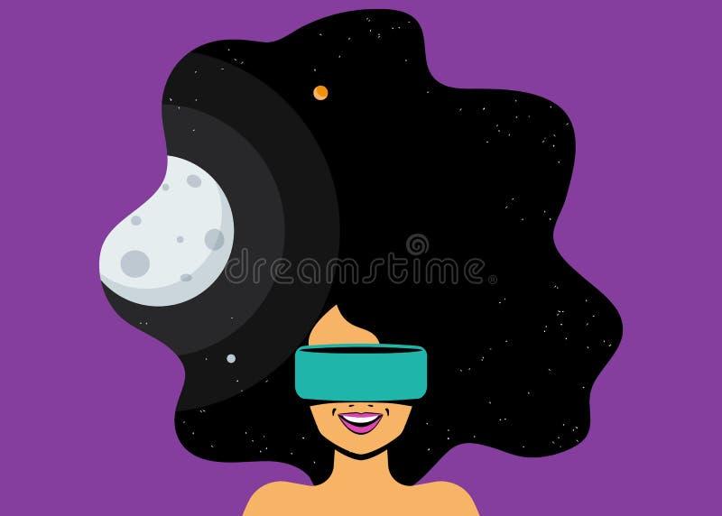 Capacete do vr da mulher entusiasmado para a simulação do espaço e digital vestindo ilustração royalty free