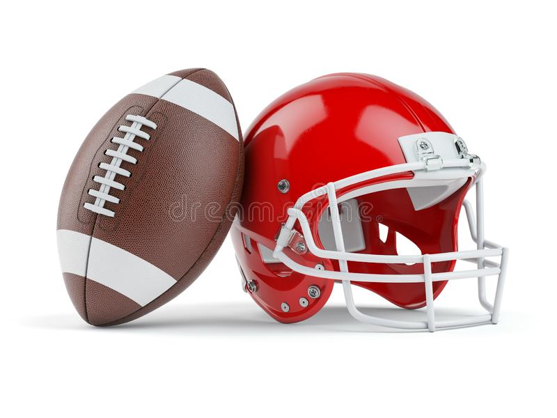 Capacete e bola de futebol americano isolados no branco ilustração royalty free