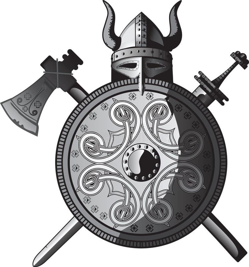 Capacete, Espada, Machado E Protetor De Viquingues Imagens de Stock
